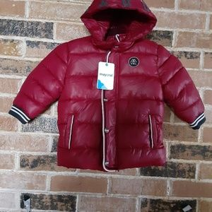 NWT Boys Mayoral Red Quilted Hooded Jacket
